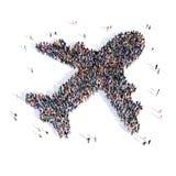 People plane shape 3d Stock Photos