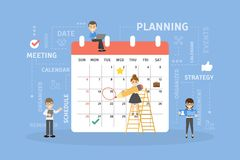 People planning calendar. People planning chores and duties with calendar Royalty Free Stock Photo