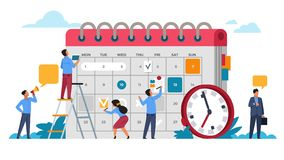 People planning concept. Entrepreneurship and calendar schedule planning. Vector business meeting and events organizing