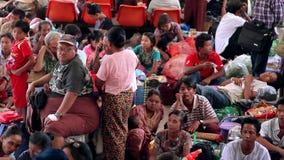 People on the platform. Myanmar, Yangon. 12/11/2013 stock video footage