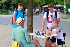 People play chess in the Vondelpark in Amsterdam Royalty Free Stock Photo