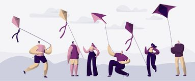 People Play with Fly Kite Outdoor Summer Park. Boy Character Running Hold Air String Game. Spring Activity Lifestile. People Play with Fly Kite Outdoor Summer royalty free illustration