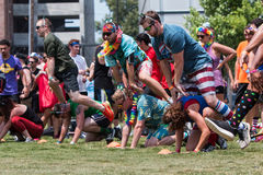 People Play Leap Frog At Atlanta Field Day Event Royalty Free Stock Photography