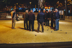 People play petanque in Barcelona Stock Images