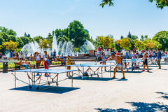 People play ping pong in Moscow Gorky park Stock Image