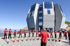 People playing the alphorn at Mount Generoso on Switzerland Stock Photos