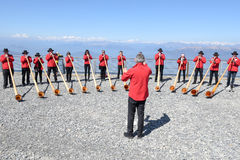 People playing the alphorn at Mount Generoso on Switzerland Stock Photography
