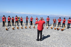 People playing the alphorn at Mount Generoso on Switzerland Stock Photo