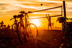 People playing beach volleybal on Venice Beach Royalty Free Stock Image