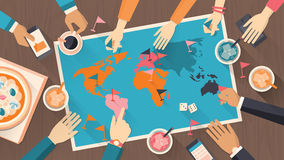 People playing with a board game. People playing together with a board game with world map, vintage style Royalty Free Stock Photos