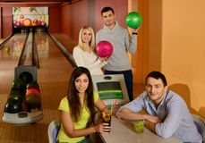People playing bowling Royalty Free Stock Image