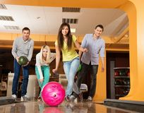 People playing bowling Royalty Free Stock Photos