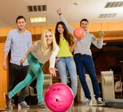 People playing bowling Royalty Free Stock Images
