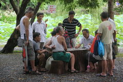 People playing a bridge game in SHEKOU SHENZHEN Stock Photos