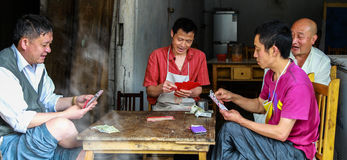 People playing cards in the teahouse,gao miao town,sichuan,china Stock Photography