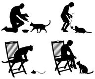 People Playing With a Cat. A clip art illustration featuring your choice of 4 scenes involving people and cats Stock Photography