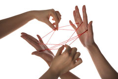 People playing cats cradle game. Close-up royalty free stock photos