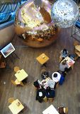 People are playing chess in cafe. Cafe chess, mall in Kiev, Ukraine royalty free stock image