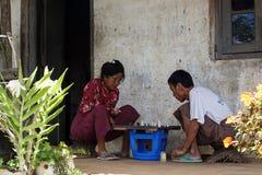 People Playing Chess in Falam, Myanmar (Burma) Stock Photos