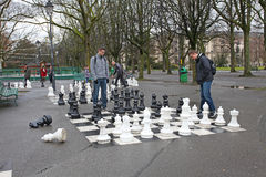People playing chess in Parc des Bastions, Geneva Stock Image