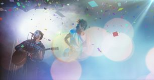 People playing concert with transition. Digital composite of people playing concert with transition Stock Photo