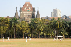 People playing cricket in the central park at Mumbai Royalty Free Stock Photo