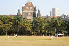 People playing cricket in the central park at Mumbai Royalty Free Stock Photos