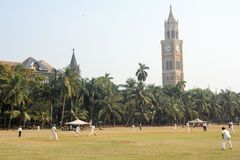 People playing cricket in the central park at Mumbai Royalty Free Stock Images
