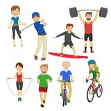 People playing different sports golf surfboard jump rope runner barbell bicycle on white Royalty Free Stock Photo