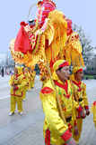 People playing dragon dances Stock Images