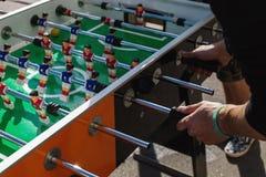 People Playing Enjoying Football Table. Soccer Game Recreation Leisure Royalty Free Stock Image