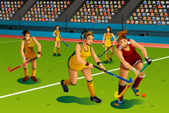 People Playing Field Hockey in the Competition. A vector illustration of people playing field hockey in the competition for sport competition series Royalty Free Stock Image