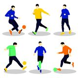 People playing football with ball. stock illustration