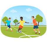 The people playing football in the field stadium vector illustration. Stock Images