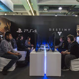 People playing at Games Week 2014 in Milan, Italy Royalty Free Stock Photography