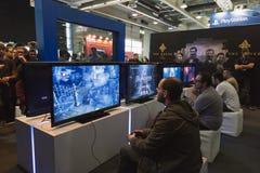 People playing at Games Week 2014 in Milan, Italy Royalty Free Stock Photo