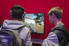 People playing at Games Week 2014 in Milan, Italy Royalty Free Stock Images