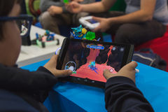 People playing at Games Week 2014 in Milan, Italy Stock Images