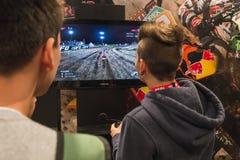 People playing at Games Week 2014 in Milan, Italy Stock Photos