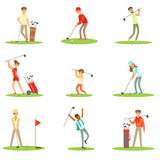 People Playing Golf On Grass, Striking The Ball With Club Set Of Smiling Characters Enjoying Gulf Game Outside In Summer. Amateur Golf Players On The Field Royalty Free Stock Images