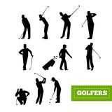 People playing Golf vector set. swing with a Golf club. golf car Royalty Free Stock Photos