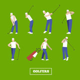 People playing Golf vector set. swing with a Golf club. golf car Royalty Free Stock Photography