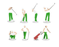 People playing Golf vector set. swing with a Golf club. golf car Stock Image