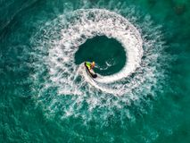 People are playing jet ski at sea during the holidays. And beaut Royalty Free Stock Image