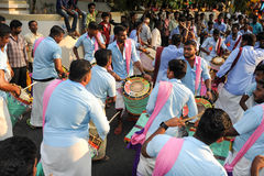 People playing music and dancing at the hindu carnival festival Stock Photos
