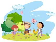 People playing music in garden. Illustration stock illustration