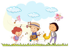 People playing music in the park. Illustration royalty free illustration