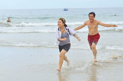 People are playing in the Nha trang beach, one of the most beautiful beach in the world Stock Photography