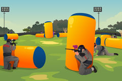 People Playing Paintball. A vector illustration of people playing paintball Stock Images