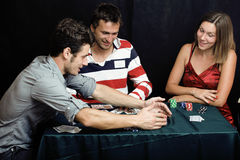 People playing poker Stock Images